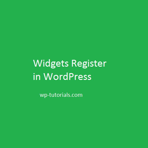 Widgets Register in wordpress